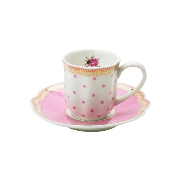 Porcelanowa filiżanka na espresso ze spodkiem Rosie Lisbeth Dahl, 2 szt.