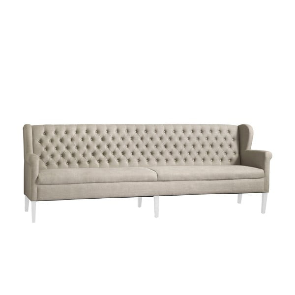 Beżowa sofa z białymi nogami Canett Kingston