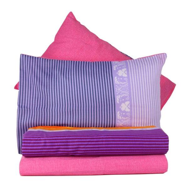 Fioletowa pościel z prześcieradłem na łóżko jednoosobowe Love Colors Noble, 160 x 220 cm