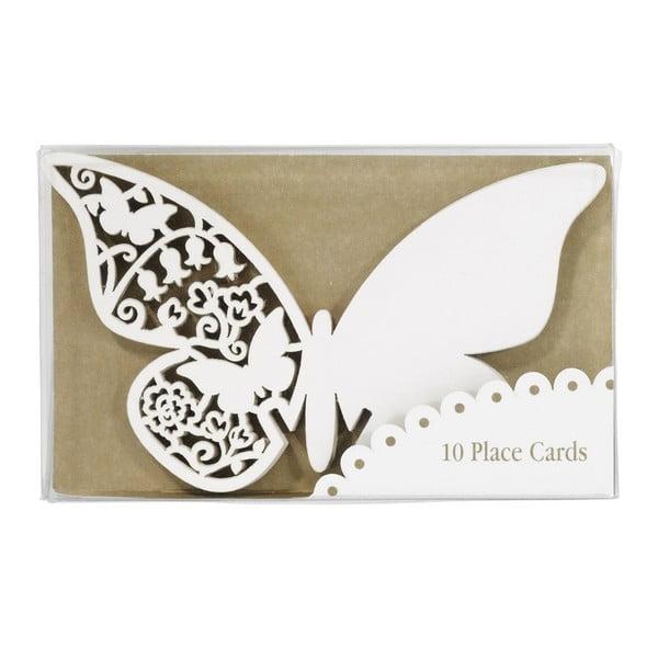 Komplet 10 znaczników/winietek Butterflies, ivory