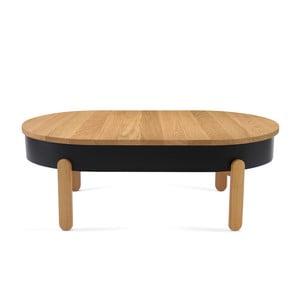 Czarno-brązowy stolik dębowy ze schowkiem Woodendot Batea L