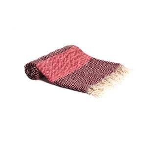Czerwony ręcznik kąpielowy tkany ręcznie Ivy's Asli, 95x180cm