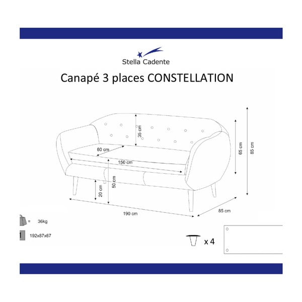 Kremowa sofa 3-osobowa Scandi by Stella Cadente Maison Constellation