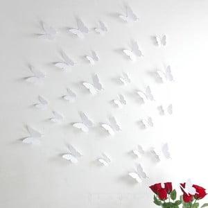 Zestaw  12 naklejek 3D Ambiance White Butterflies