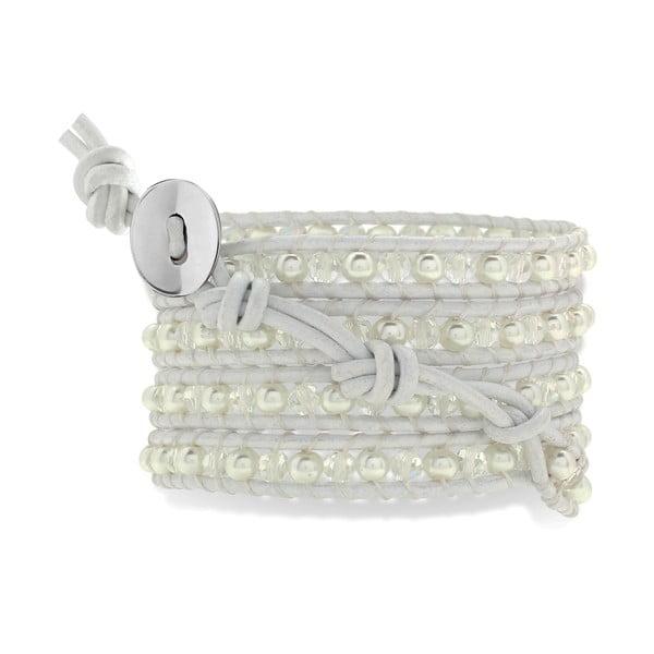 Biała pięciorzędowa bransoletka ze skóry z perłami Lucie & Jade