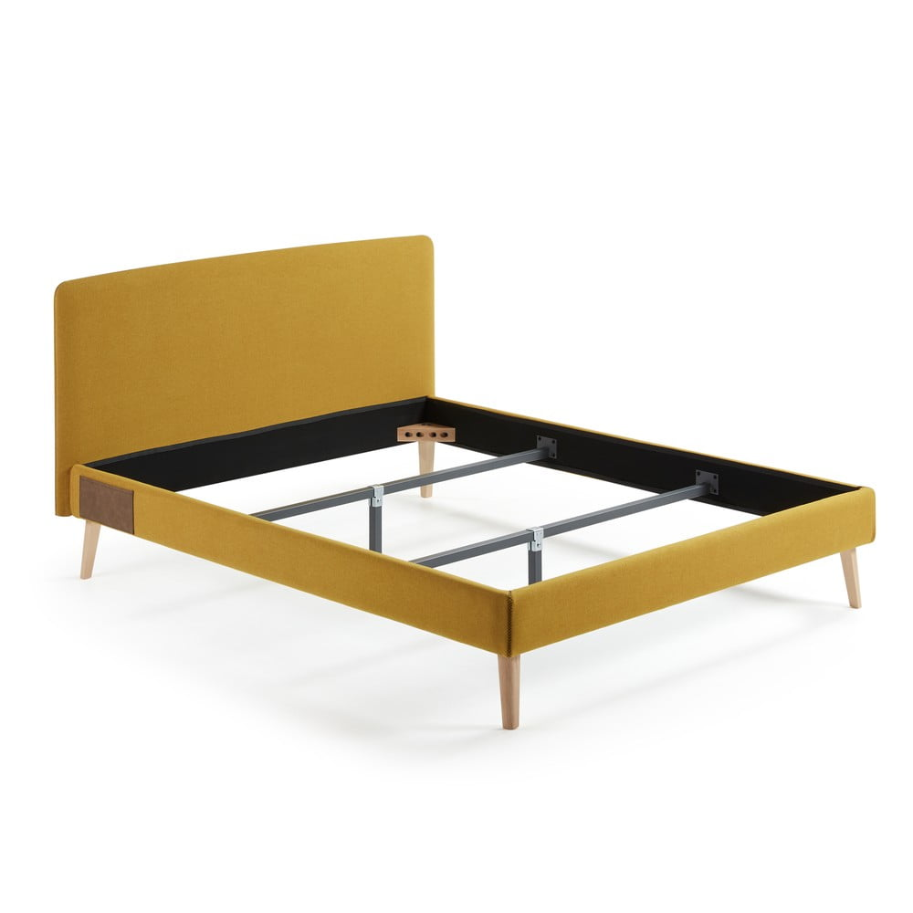 Żółte łóżko 2-osobowe La Forma Lydia,200x160 cm