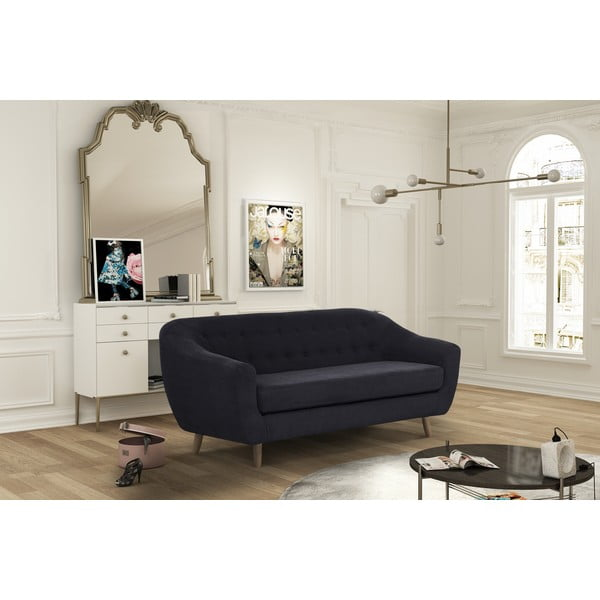 Czarna sofa trzyosobowa Jalouse Maison Vicky