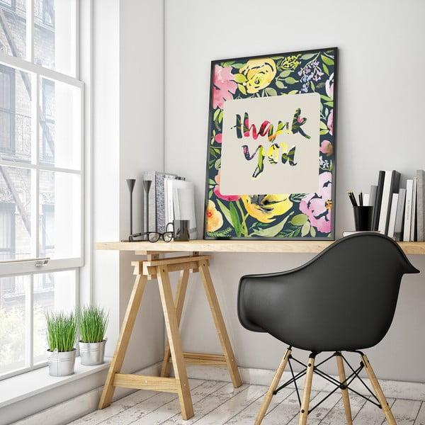 Plakat z kwiatami Thank You, kolorowe tło, 30 x 40 cm