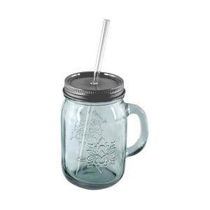 Szklanka ze szkła z recyklingu zakrętką i słomką Ego Dekor Authentic, 550 ml