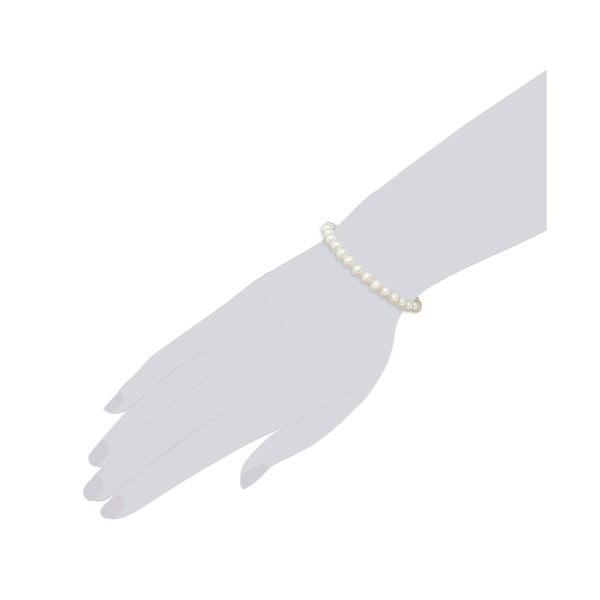 Perłowa bransoletka Muschel, białe perły 6 mm, długość 19 cm