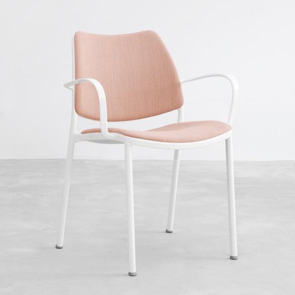Krzesło Gas, różowe, białe nogi