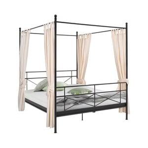 Czarne łóżko metalowe Støraa Tanja Canopy, 180x200cm