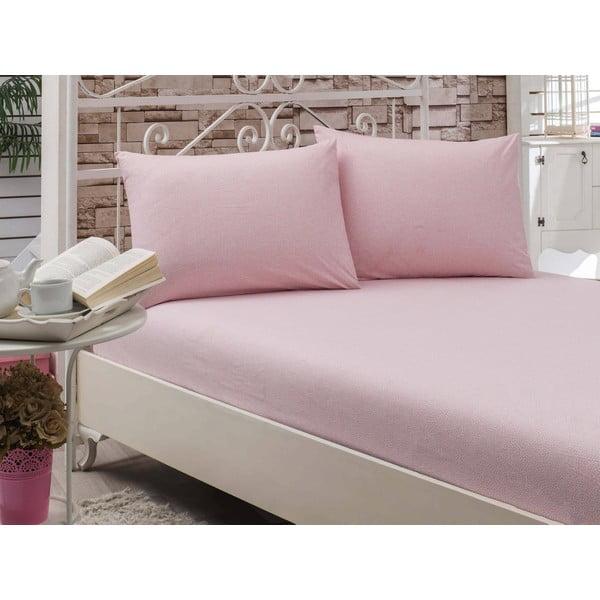 Prześcieradło Circle Pink, 160x200 cm
