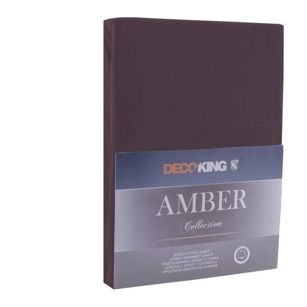 Brązowe bawełniane prześcieradło DecoKing Amber Collection, 80-90x200 cm
