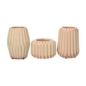 Zestaw 3 wazonów Stoneware Pink