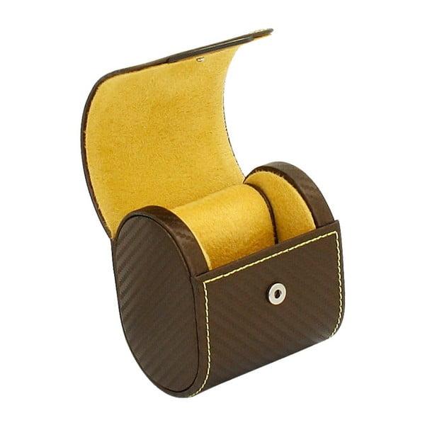 Czekalodowo-brązowe pudełko na zegarek Carbon