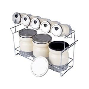 Zestaw 8 pojemników na przyprawy ze stojakiem Lux Metal