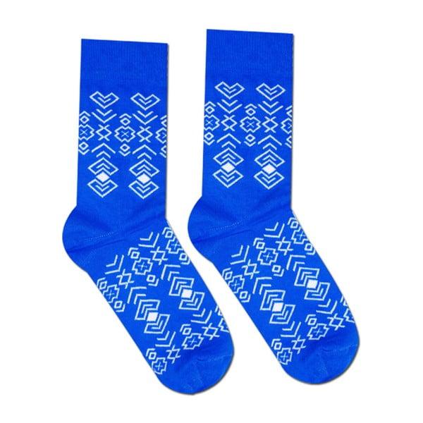 Niebieskie skarpetki bawełniane Hesty Socks Geometry, rozm. 39-42