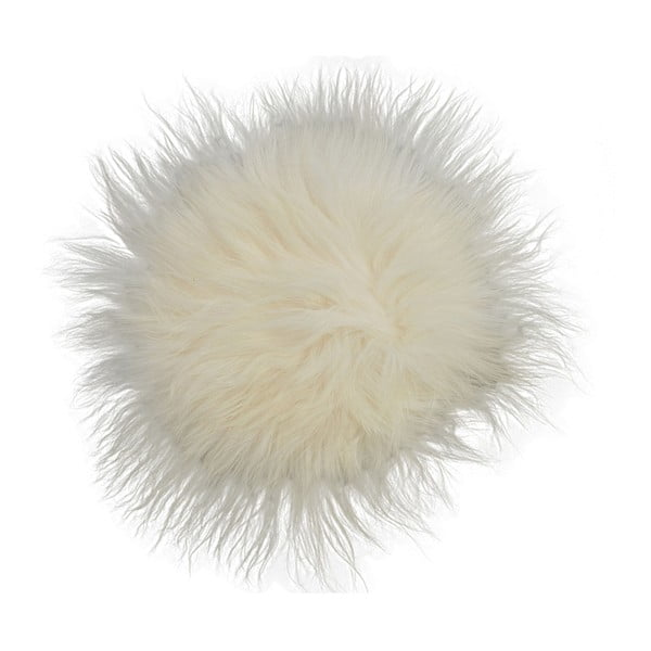 Biała poduszka futrzana do siedzenia z długim włosiem, Ø 35 cm