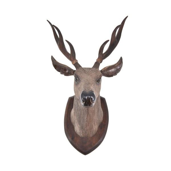 Dekoracyjna głowa jelenia z drewna tekowego Erosi