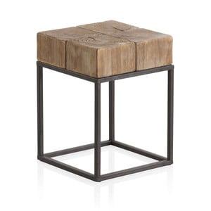 Drewniany odkládací stolek z metalowymi nogami Geese, 33x33 cm