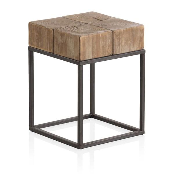 Drewniany stołek z metalowymi nogami Geese, 33x33 cm