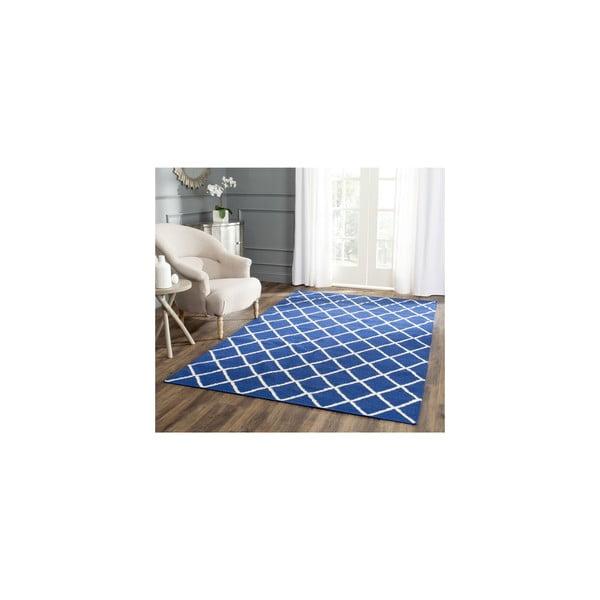 Wełniany dywan Fes 76x243 cm, niebieski