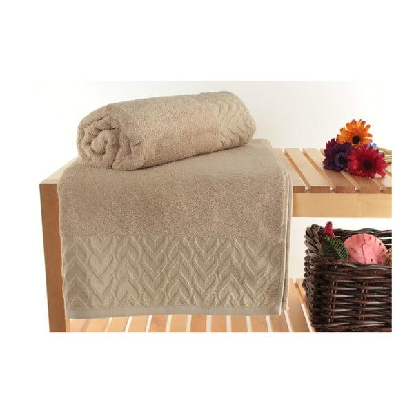 Zestaw 2 brązowych ręczników kąpielowych Kalp, 90x150cm