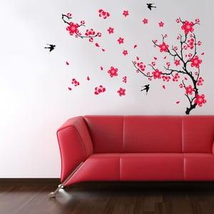 Naklejka ścienna Ptaki i kwiat, 90x60 cm
