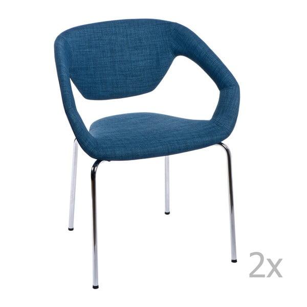 Zestaw 2 krzeseł D2 Space, tapicerowane, niebieskie