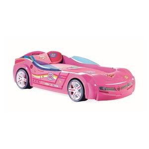 Różowe łóżko dziecięce w kształcie auta Biturbo Carbed Pink, 90x195 cm