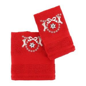 Świąteczny zestaw czerwonego małego i dużego ręcznika Corap