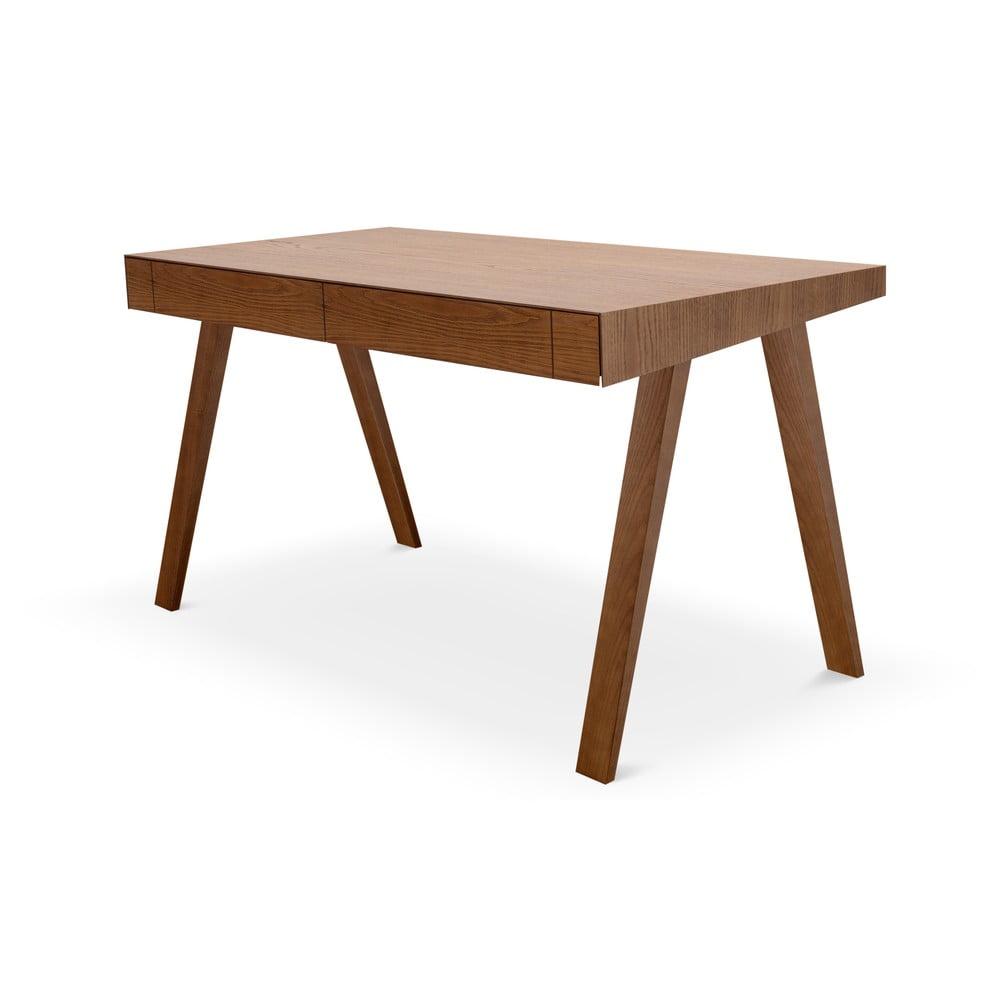 Brązowe biurko z nogami z drewna jesionowego EMKO, 140x70 cm