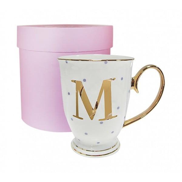Kubek z literką M w liliowe groszki
