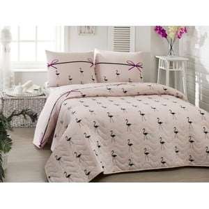 Pikowana narzuta z poszewkami na poduszki Flamingo Powder, 200x220cm