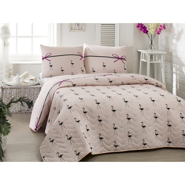 Pikowana narzuta dwuosobowa z poszewkami na poduszki Flamingo Powder,200x220cm