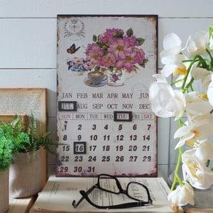 Metalowy kalendarz stołowy Flowers