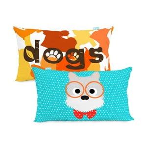 Dwustronna poszewka bawełniana na poduszkę Mr. Fox Dogs 50x30 cm