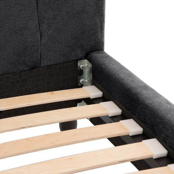 Ciemnoszare łóżko z czarnymi nóżkami Vivonita Allon, 180x200 cm