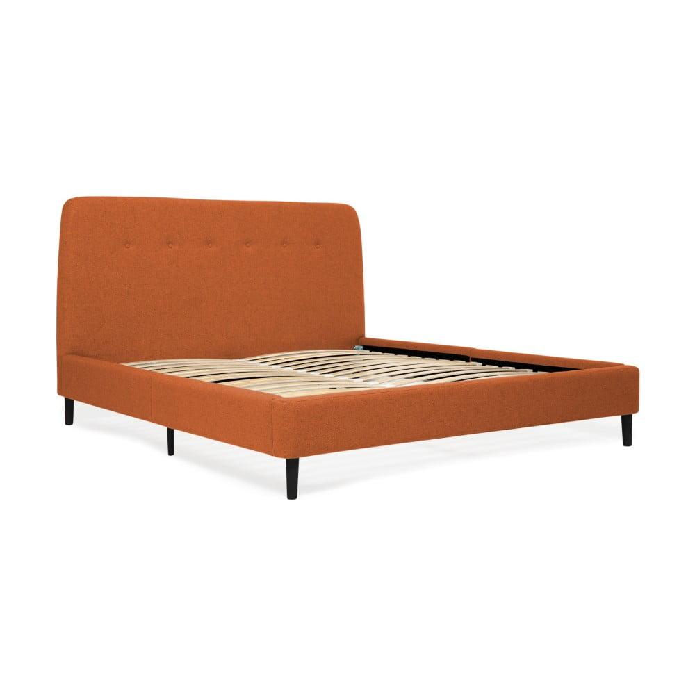 Pomarańczowe łóżko 2-osobowe z czarnymi nogami Vivonita Mae, 140x200 cm