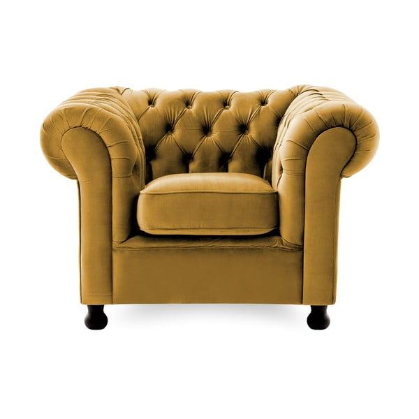 Ciemnożółty fotel Vivonita Chesterfield