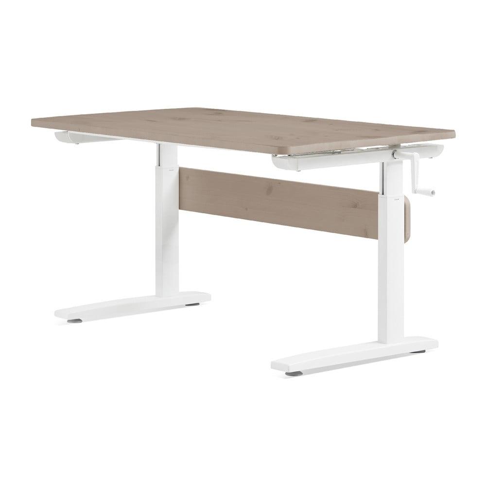 Brązowo-białe biurko z regulacją wysokości Flexa