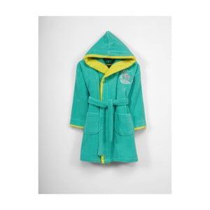 Dětský zeleno-žlutý bavlněný župan s kapucí, 3-6 let