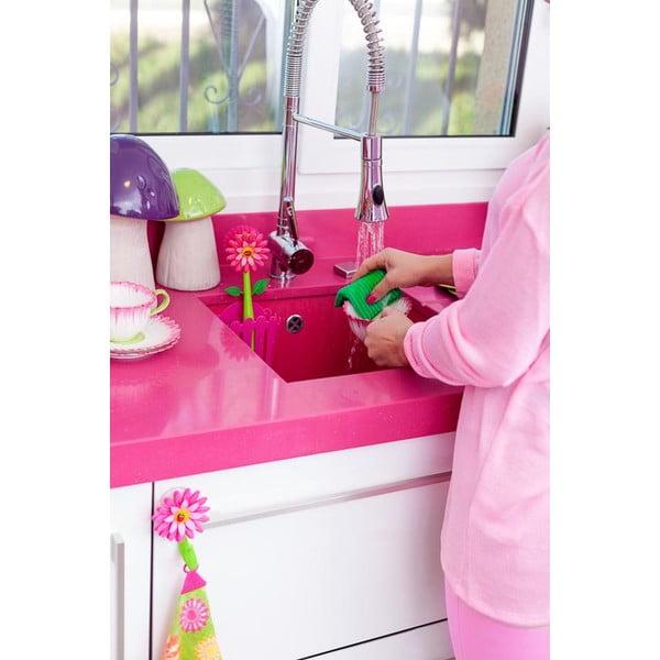 Różowy komplet do mycia naczyń Vigar Flower Power