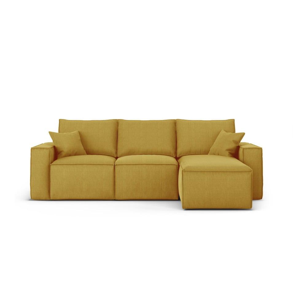 Żółta narożna sofa prawostronna Cosmopolitan Design Miami