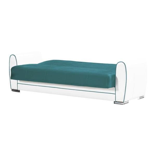 Turkusowo-kremowa dwuosobowa sofa rozkładana ze schowkiem Esidra Rest