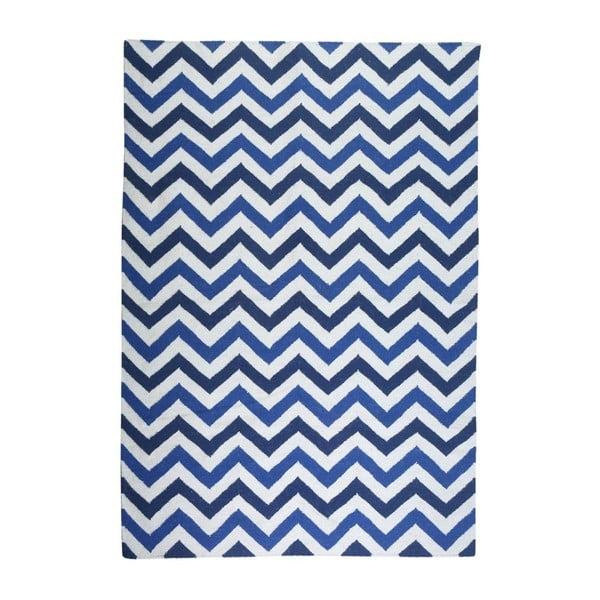 Dywan wełniany Geometry Zic Zac Dark Blue Mix, 160x230 cm