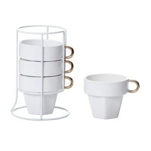Zestaw 4 filiżanek na stojaku Cappuccino Tower
