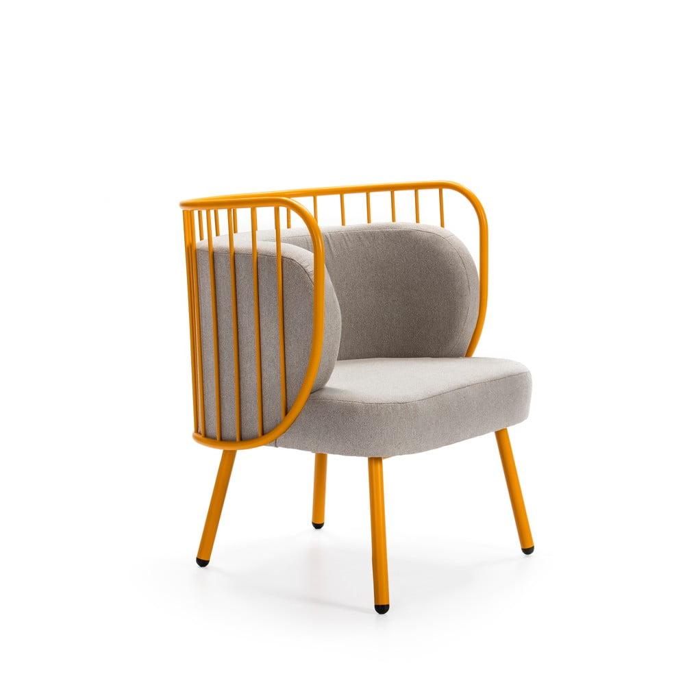 Żółty metalowy fotel z szarym obiciem Teulat Nabi