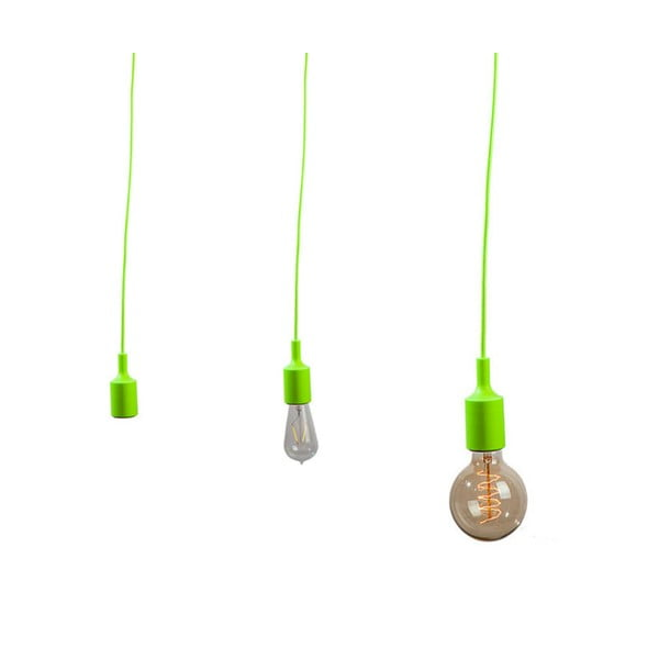 Materiałowy kabel z oprawką 1,5 m - zielony
